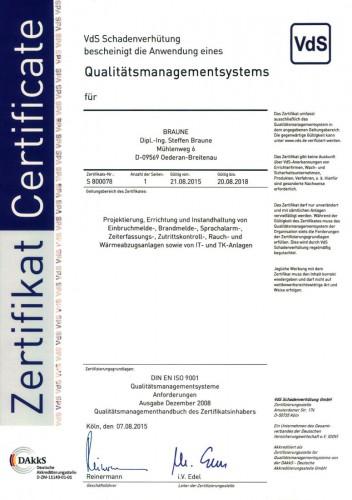 VDS Zertifizierung für das Qualitätsmanagementsystem gemäß DIN ISO 9001