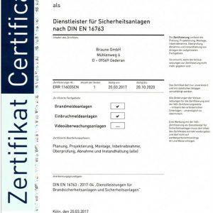 Dienstleister für Sicherheitsanlagen nach DIN EN 16763 VdS Zertifizierung DIN