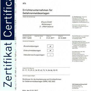 Errichterunternehmen für Gefahrenmeldeanlagen VdS Zertifizierung GMA