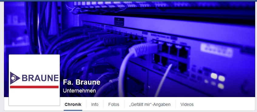 Bildschirmfoto - Firma BRAUNE bei Facebook, Screenshot 2015