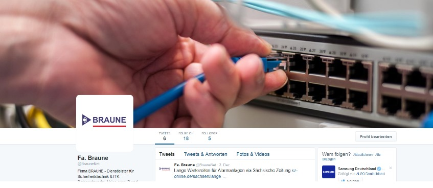 BRAUNE GmbH bei Twitter